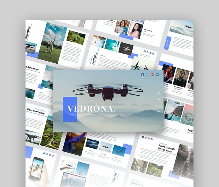 Verdonra Drone Clean Photography PowerPoint Template