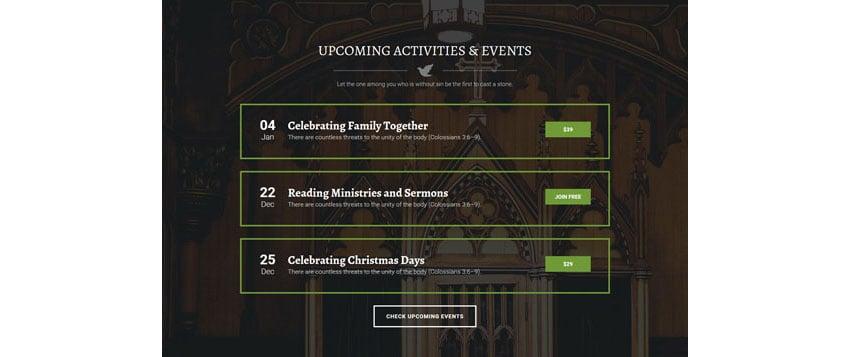ChurchWP Church WordPress Template Events Page