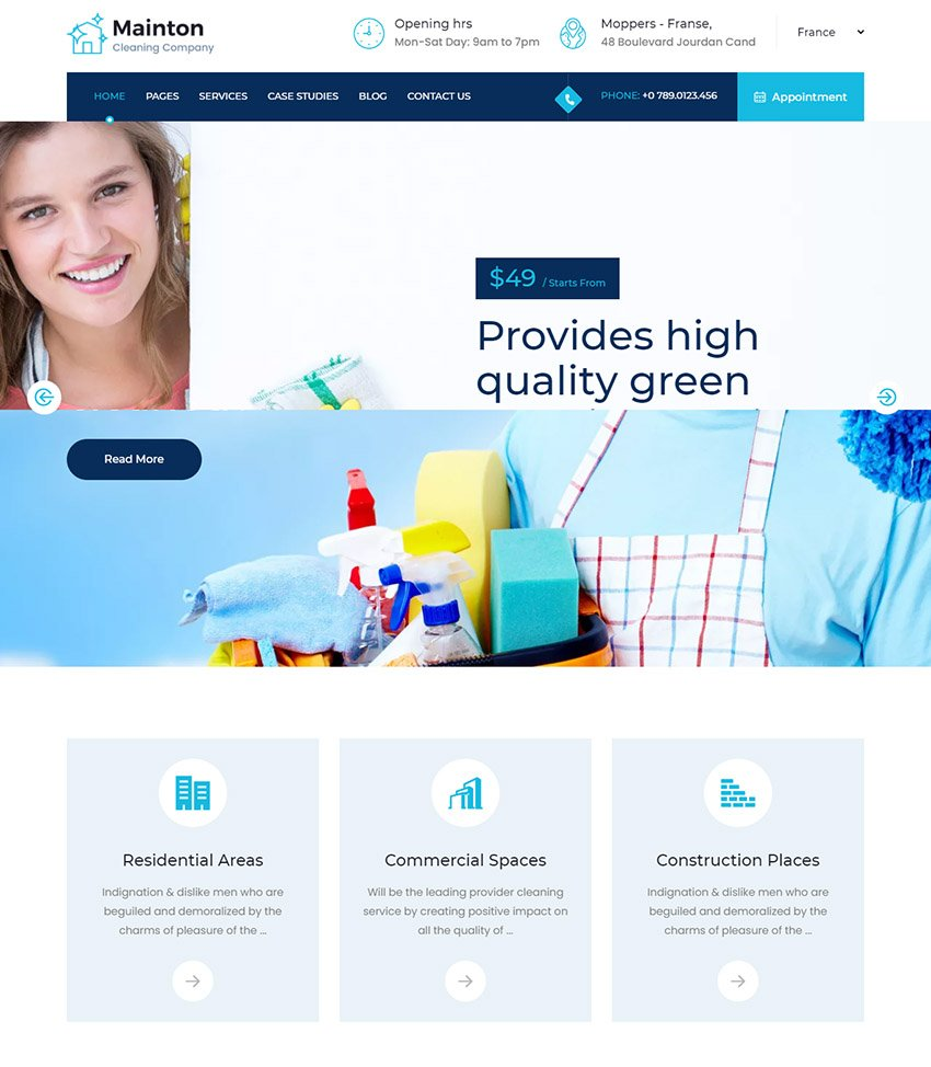 Mainton Cleaning Service Template