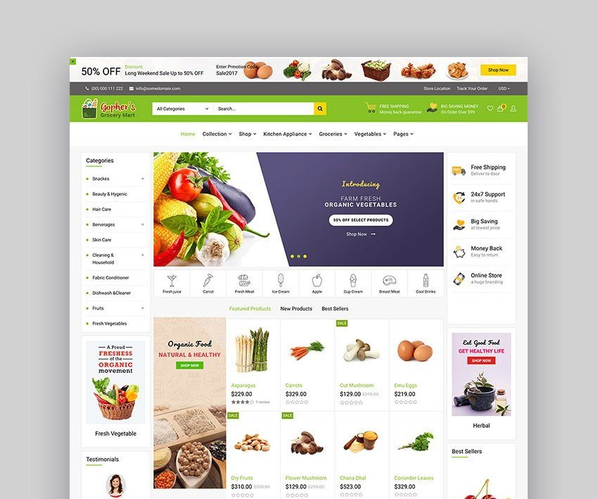 Gopher Grocery Store Shopify Theme