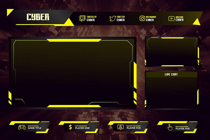 Cyber Custom Twitch Branding Overlay Download