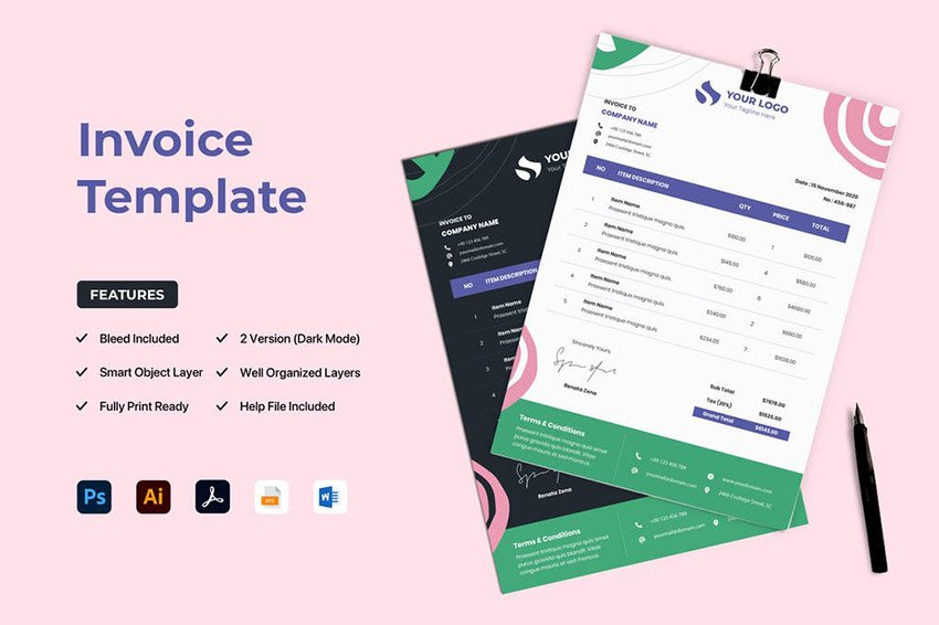Download Template Invoice Word