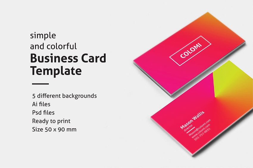 Colomi Creative Business Card Templates With Gradient