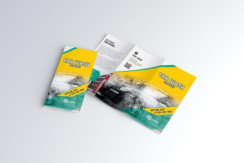 Car Wash Trifold Brochure Design Template Download