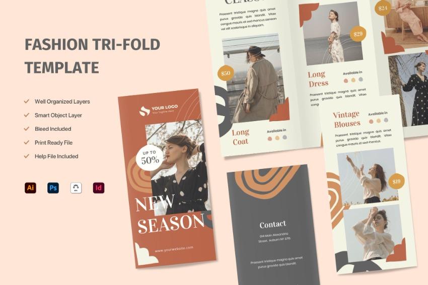 Fashion Trifold Brochure Layout Design