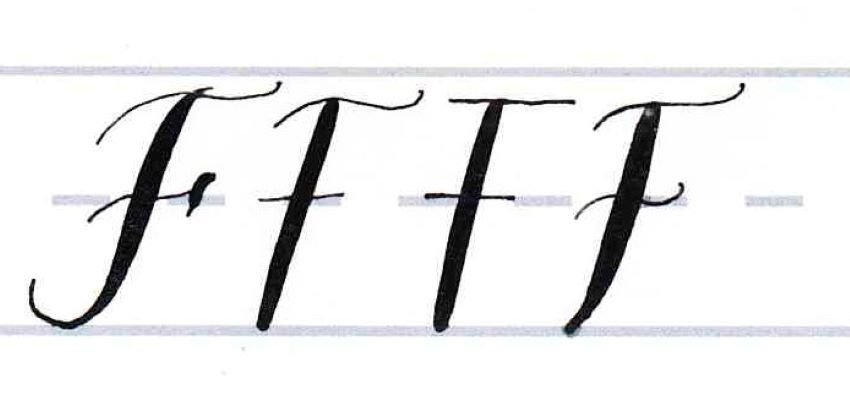 Calligraphy Writing Tutorial make your own font-uppercase F