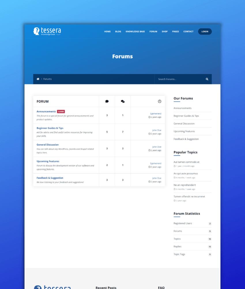Tessera - a good WordPress theme for those who want to create a knowledge base website