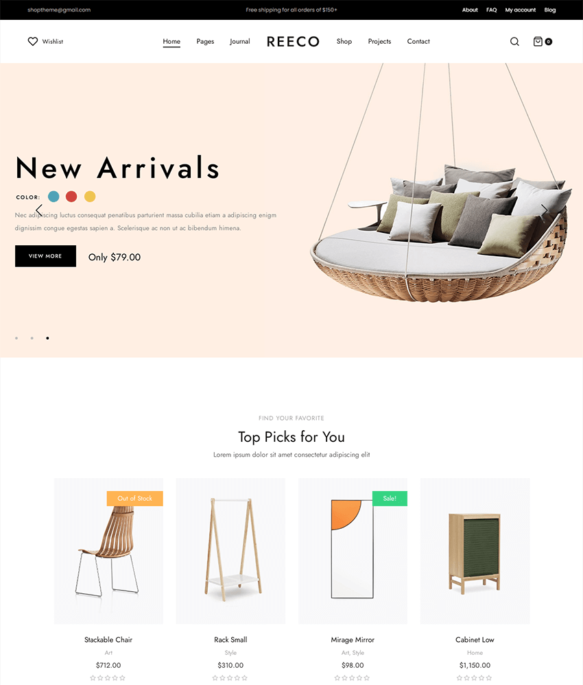 Reeco - a new wordpress theme for furniture websites