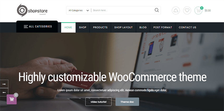 Store Commerce is a free and pretty-designed wordpress theme