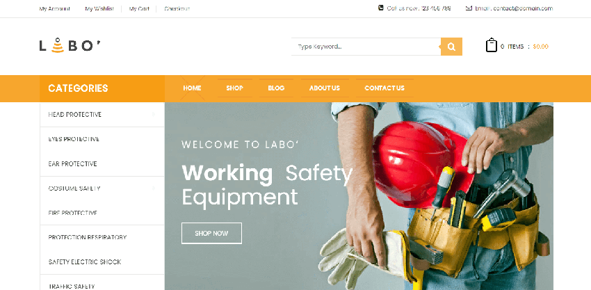 VG Vonia - fast WordPress theme for equipment stores
