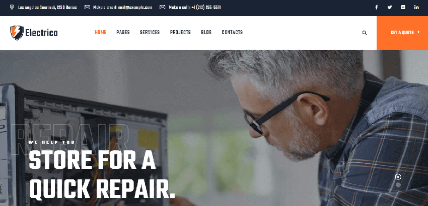 Electrico - A WordPress theme for electrical service providers