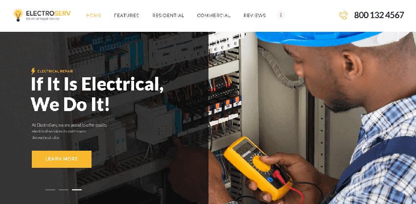 ElectroServ - Responsive WordPress theme for electrical companies