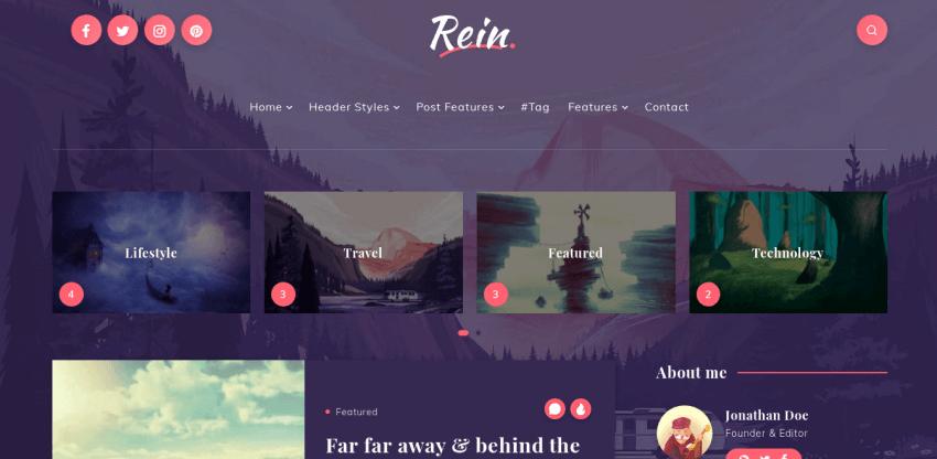 Rein - fantasy WordPress theme for blogs and online magazines