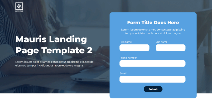 Mauris - Well-designed HubSpot template with a contact form and a hero image