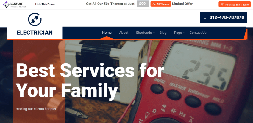 Expert Electrician - A good theme for service providers to create their WordPress websites
