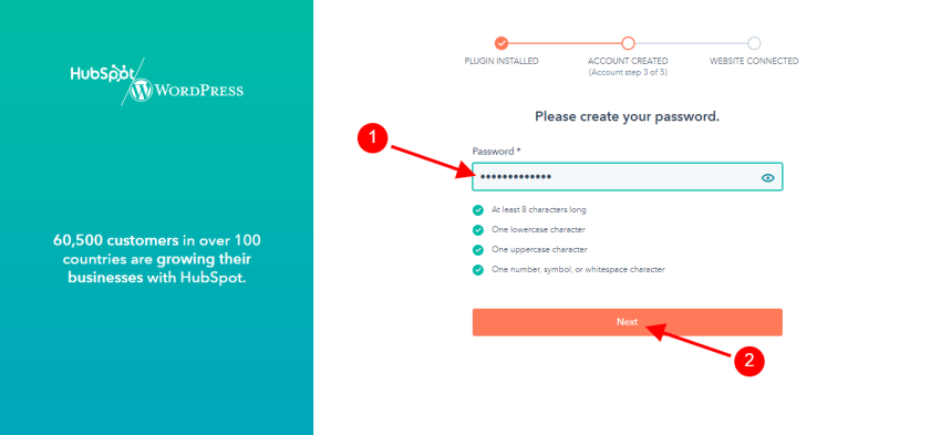 Choose a password for your HubSpot account