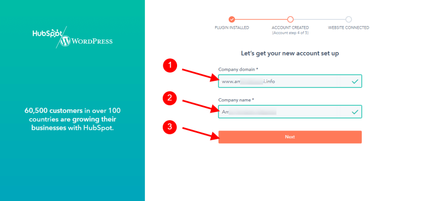 Write down your companyname and domain