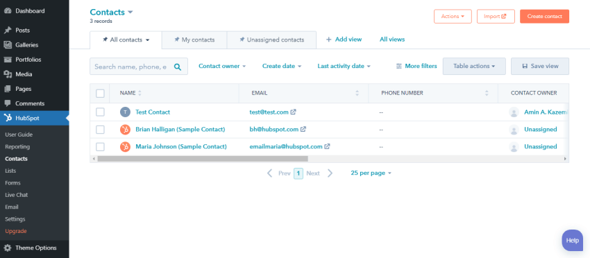 The Contacts list in the HubSpot plugin for WordPress