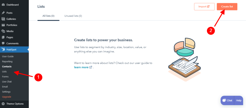 Creating contact lists with HubSpot