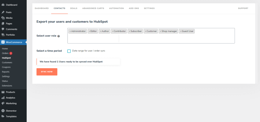Contacts settings in the HubSpot plugin for WooCommerce