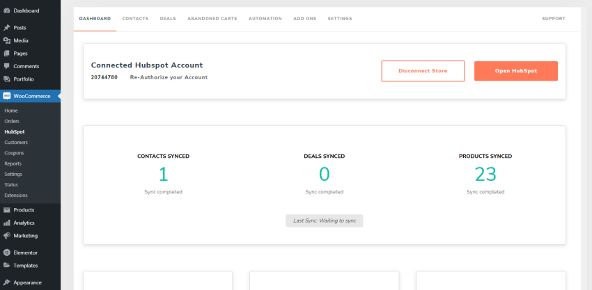 The HubSpot for WooCommerce plugin