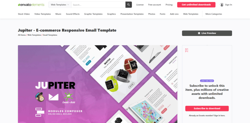 Jupiter - email template library for HubSpot