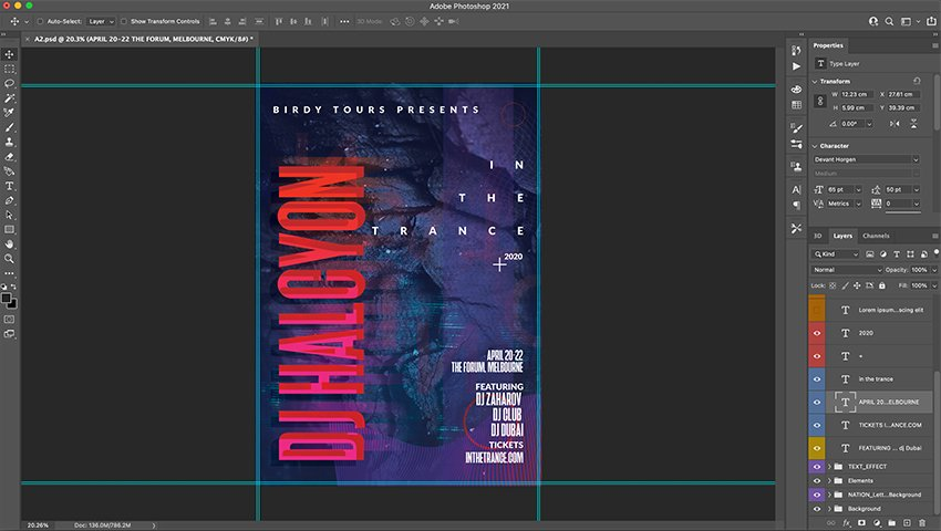 Photoshop design with new font applied to hero and supplementary text