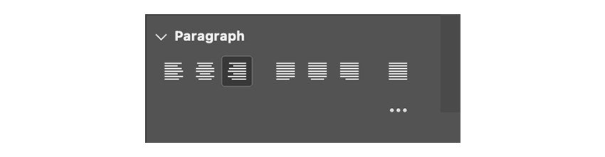 Use the Paragraph tool to align text to the right