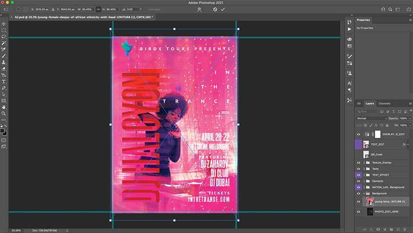 Drag photo into Photoshop file and resize