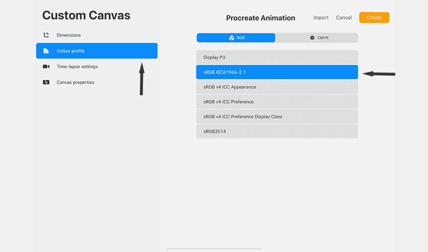 Color Profile sRGB for web