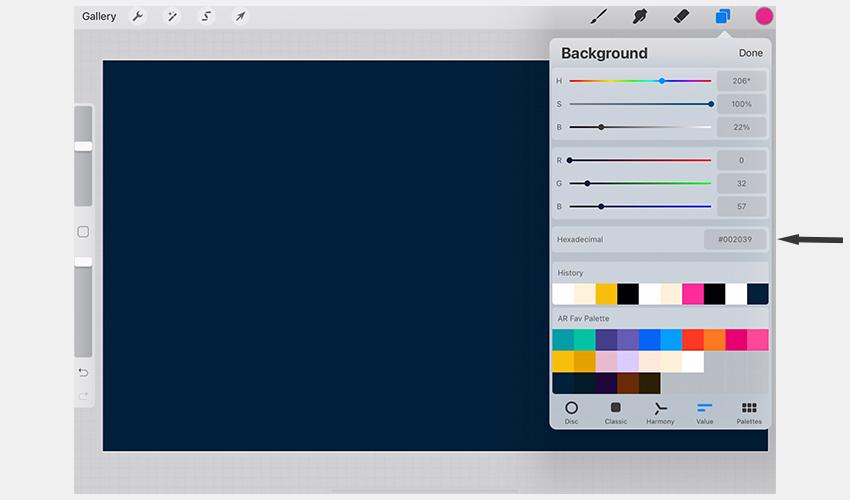Dark Blue Background in Procreate