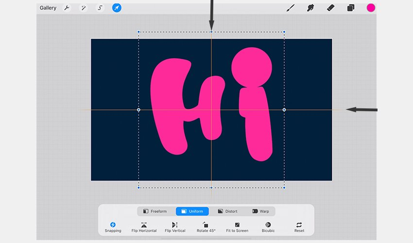 Snapping guide centers the text in Procreate