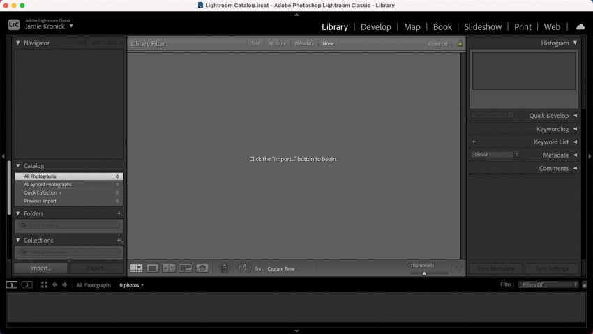 Default view in Lightroom Library panel
