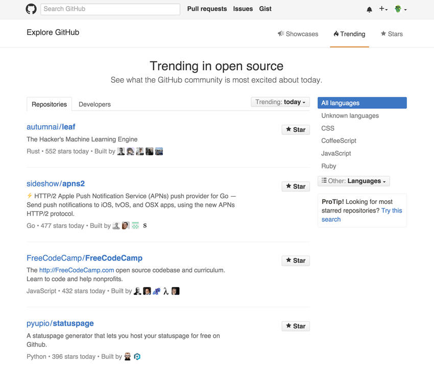 The Explore page at GitHub
