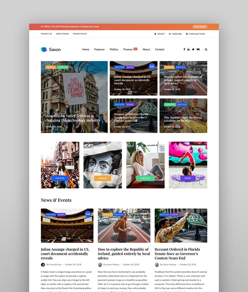 Saxon - Viral Content Blog  Magazine Marketing WordPress Theme light