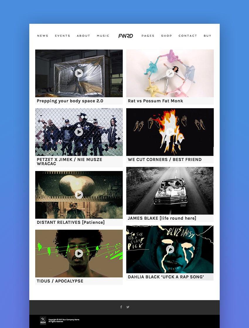 FWRD - Music Band  Musician WordPress Theme