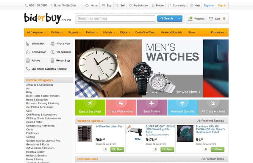bidorbuycoza user interface