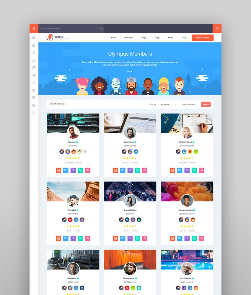 Olympus - Responsive Community Social Network WordPress Theme