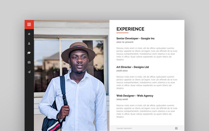 Divergent - Personal Vcard Resume WordPress Theme