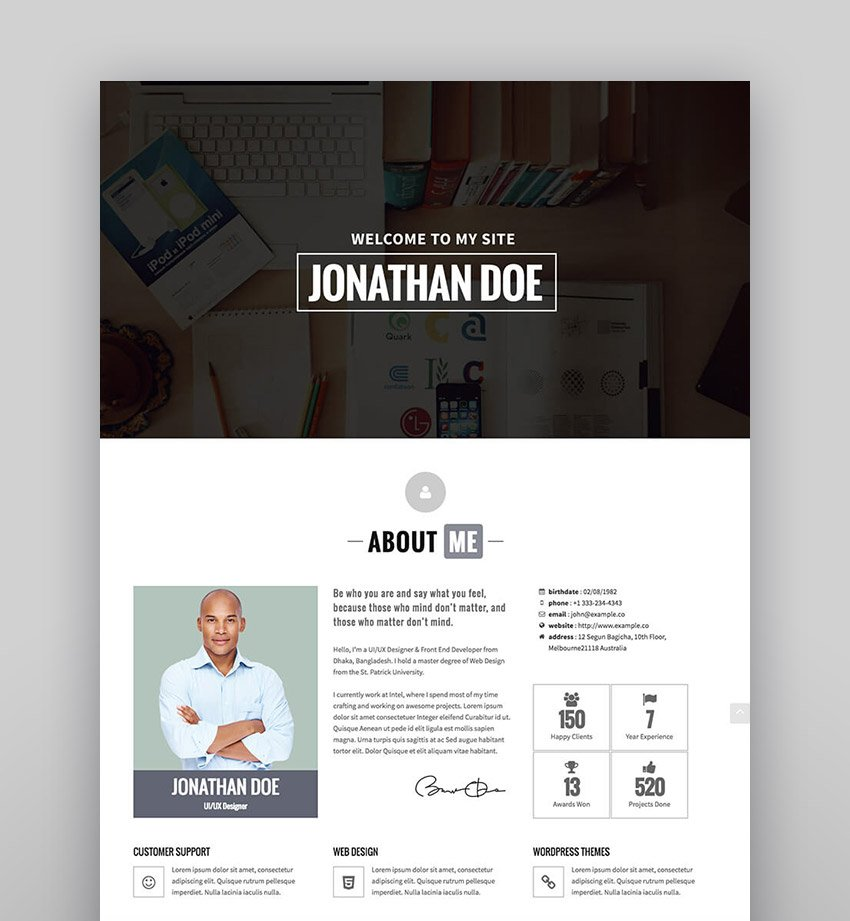 Identity - Personal vCard CV Portfolio WP Theme
