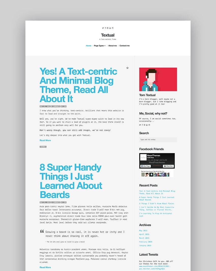 Textual - A Text-Centric WordPress Blog Theme