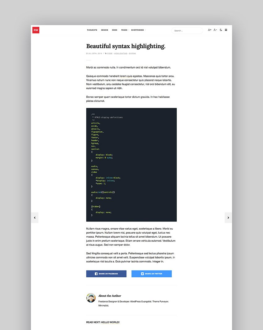 ReadWrite - Beautifully Minimal Writing Blogging WordPress Theme