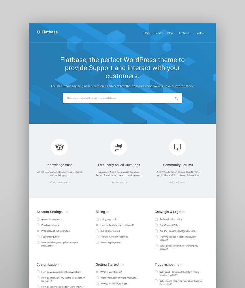 Flatbase - Tema de WordPress para una base de conocimiento fácil de manejar