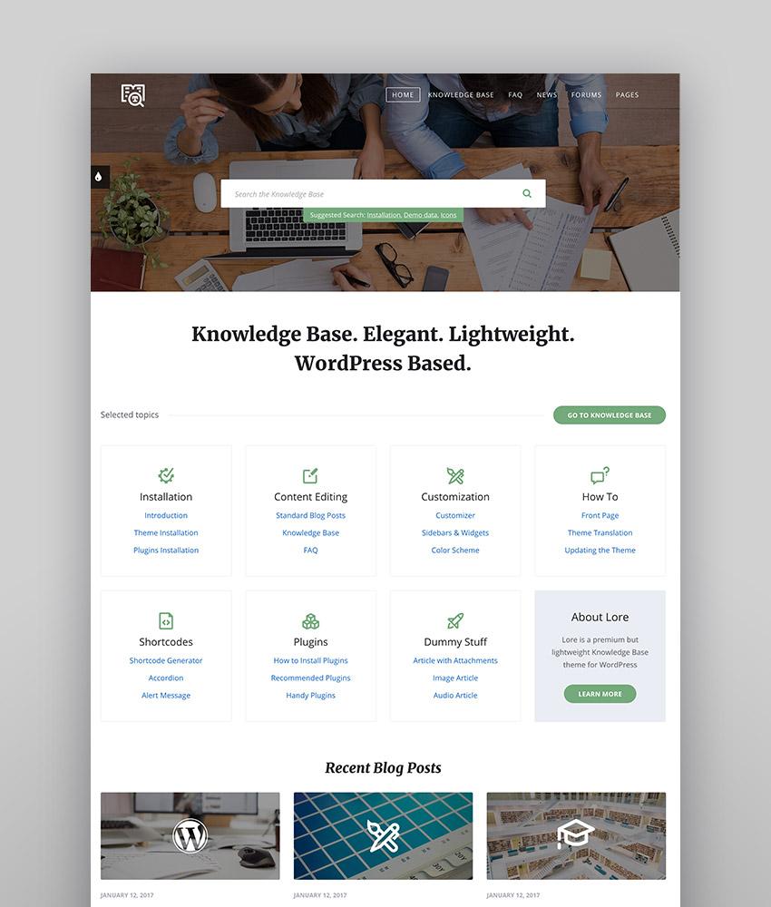 Lore - Simple y elegante tema estilo wiki para WordPress
