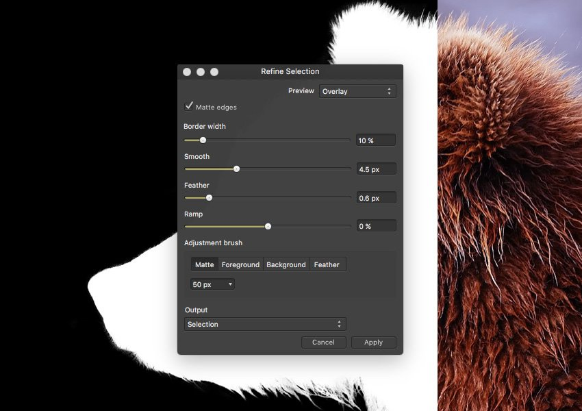 Affinity Photos selection refinement