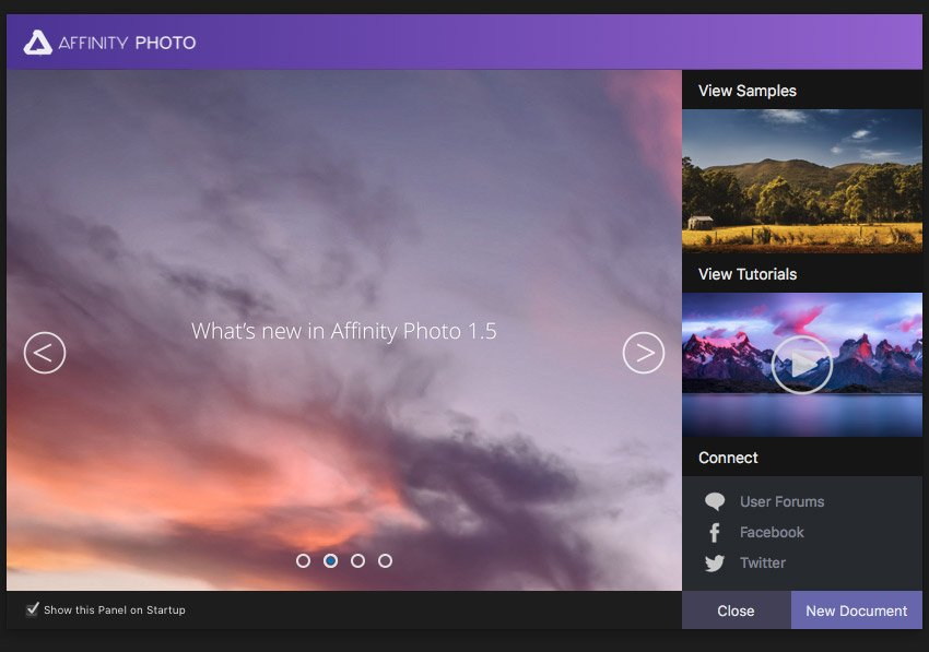 Welcome panel from Affinity Photo