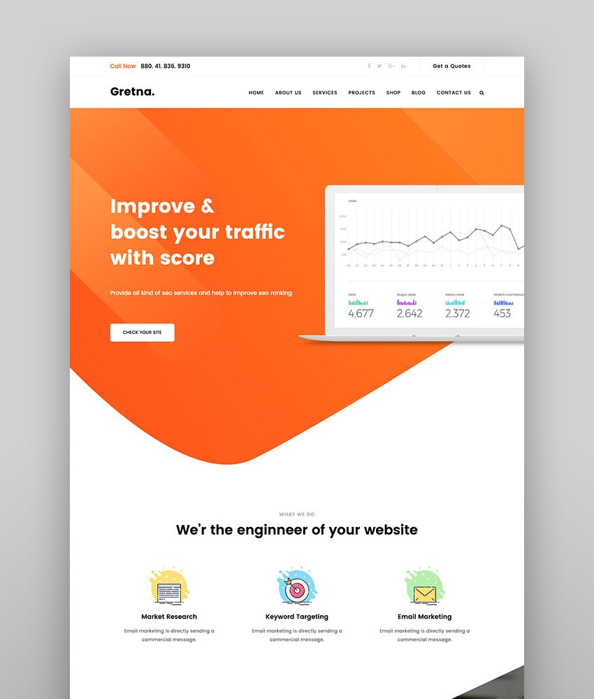 Gretna - SEO Digital Agency WordPress Theme