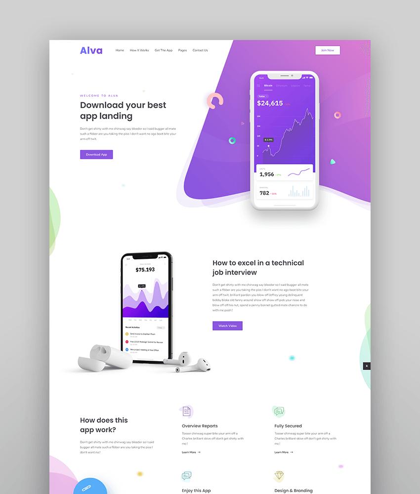 Alva- WordPress Theme For Saas Product