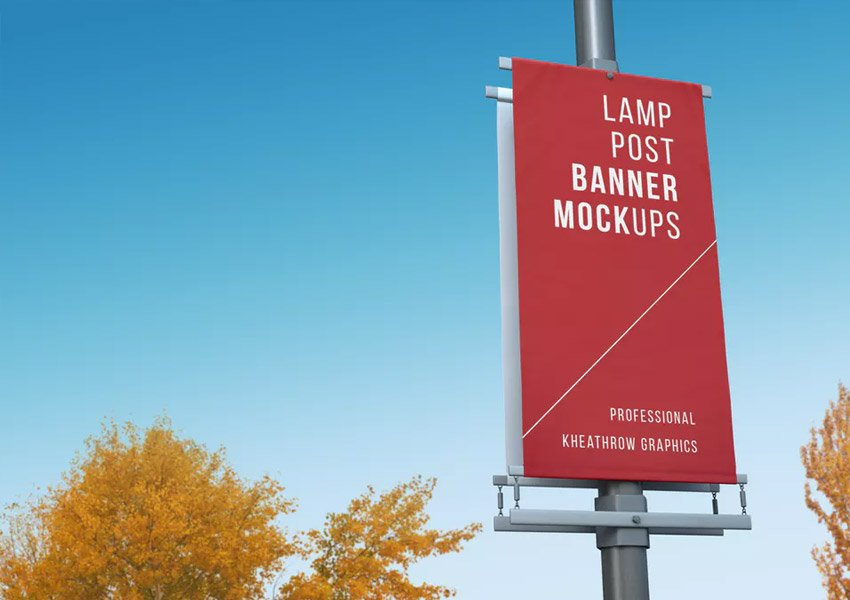 City Lamp Post Banners Mock-Ups Vol1