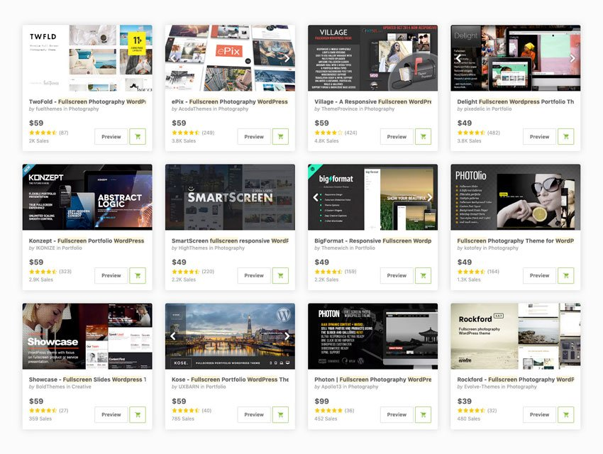 Best full-screen website themes for WordPress available for sale on ThemeForest